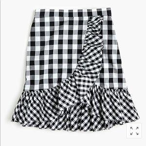 J Crew Ruffle gingham mini skirt 00